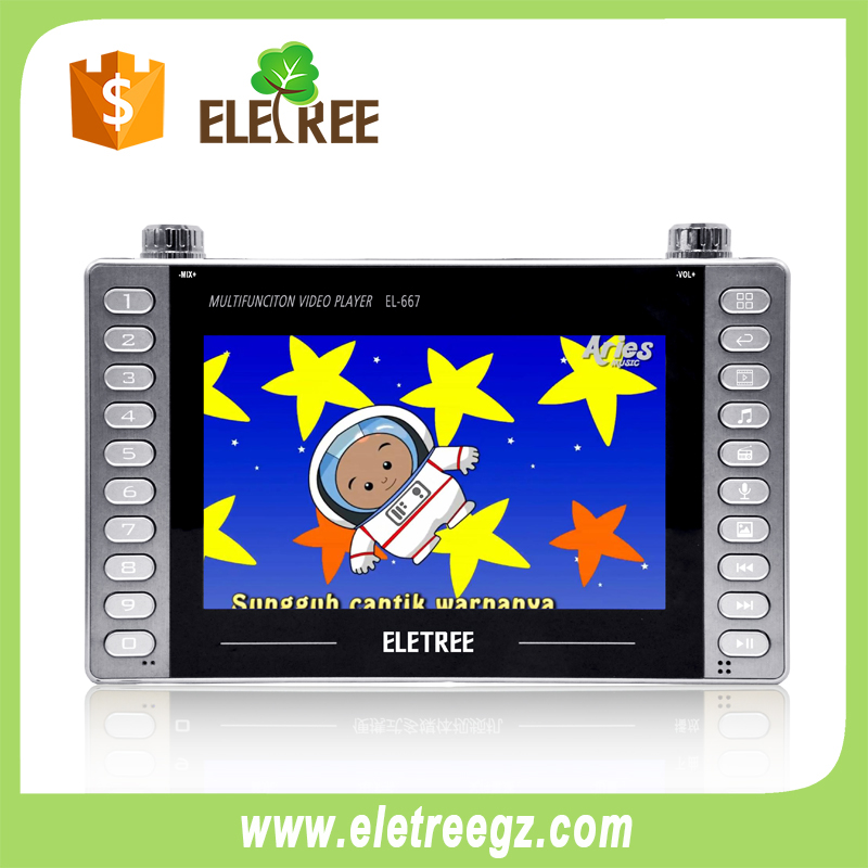 Led MP4 displayer With FM radio With USB/Micro SD MP3 player Support Multi Tasking With 5V DC  Jack FM:87-180MHz DC:5V Output Powrer:20W z Dual-EL-667