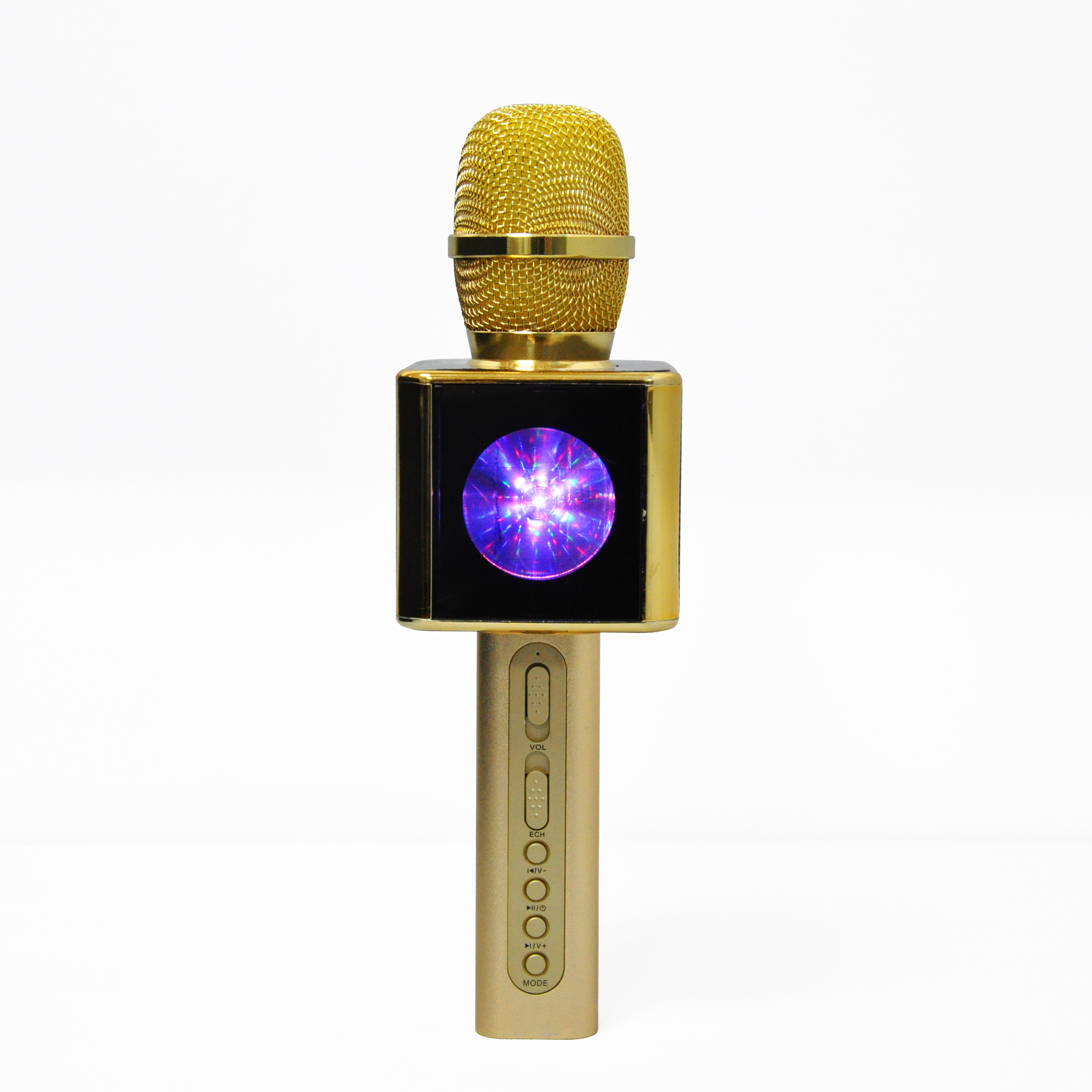 YS-13-CHEAPEST GOOD QUALITY GOLDEN blue tooth mic karaoke wireless microphone karaoke mic WITH LIGHT